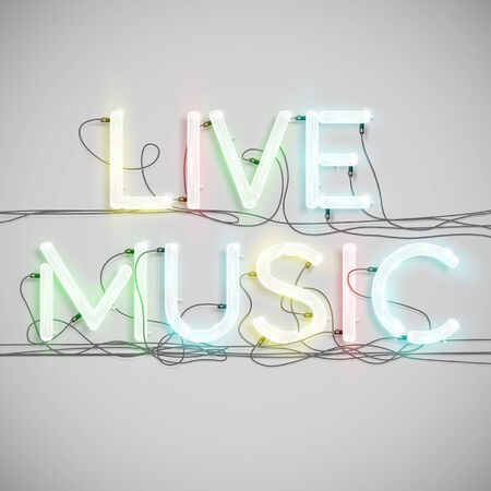 fluorescent lights: Live Musicmade by neon type, vector