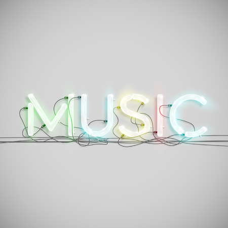 \Music\ made by neon type, vector Ilustracja