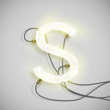 neon letter: Neon letter, vector Illustration