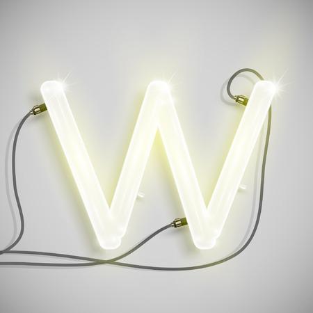 Neon letter, vector Vector