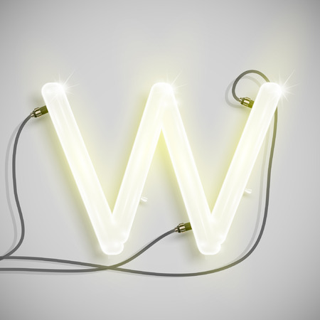 Neon letter, vector Illustration