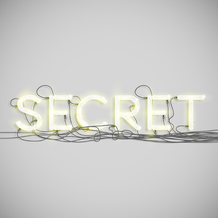 secret number: A word made by neon type, vector
