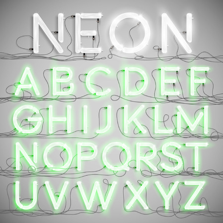 Realistic neon alphabet with wires, vector