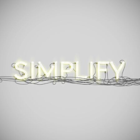 simplify: A word made by neon type, vector