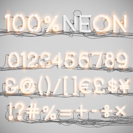 neon alphabet: Realistic neon alphabet with wires (ON), vector Illustration