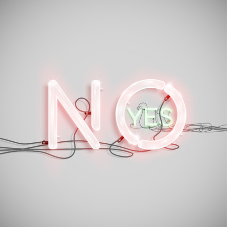fluorescent tube: YES and NO, made by NeON typeset, vector