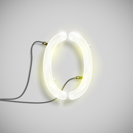 Realistic neon number with wires, vector Vector