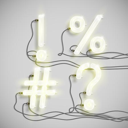 signo pregunta: Personajes realizados por fuente de neón, vector