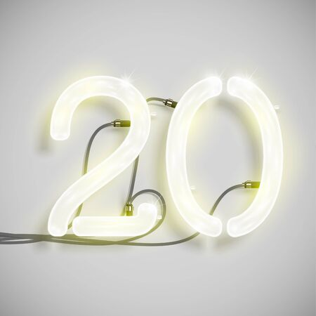 fluorescent tube: Number, made by NeON typeset, vector
