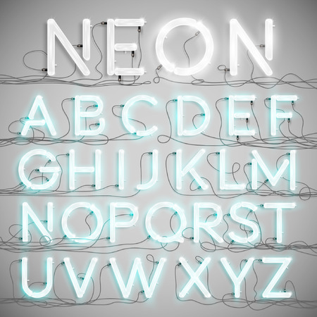 Realistic neon alphabet with wires (ON), vector Çizim