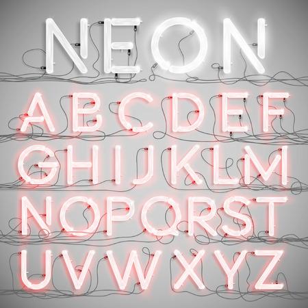 abecedario: Alfabeto de ne�n realista con cables (ON), vector