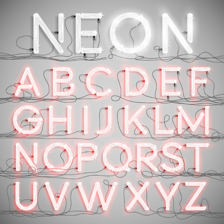 lettres alphabet: Réaliste alphabet néon avec des fils (ON), vecteur