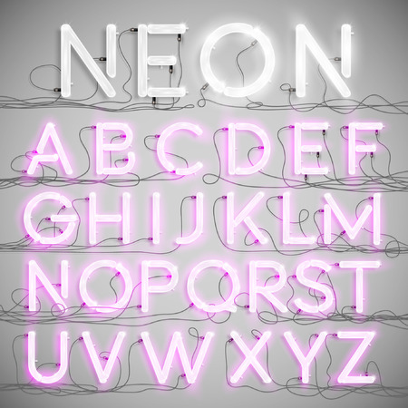type: Realistic neon alphabet with wires (ON), vector Illustration