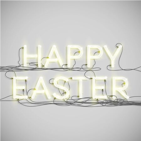 Easter word made by neon font, vector Vector
