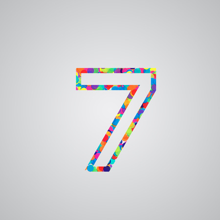 hebrew alphabet: Colorful number, vector