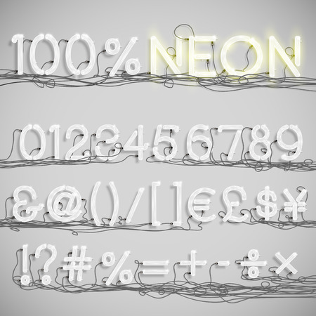 Realistic neon alphabet with wires (OFF), vector