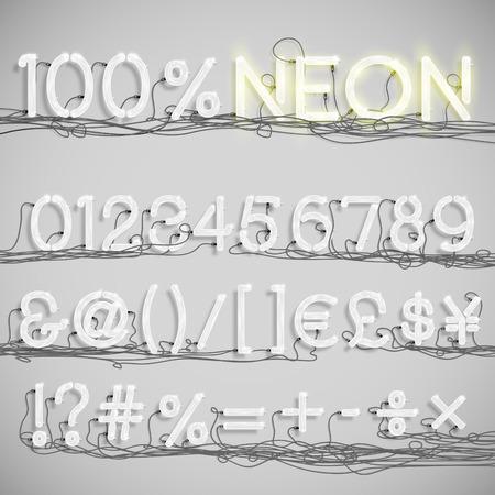 Realistische neon alfabet met draden (UIT), vector