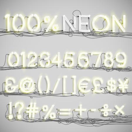 nombres: Réaliste alphabet néon avec des fils (ON), vecteur
