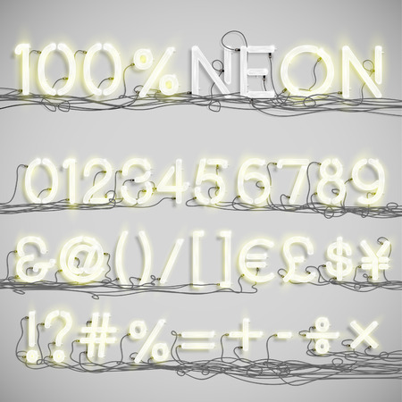 numbers abstract: Realistic neon alphabet with wires (ON), vector Illustration