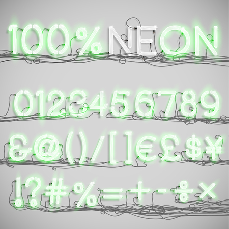 fluorescent tube: Realistic neon alphabet with wires (ON), vector Illustration