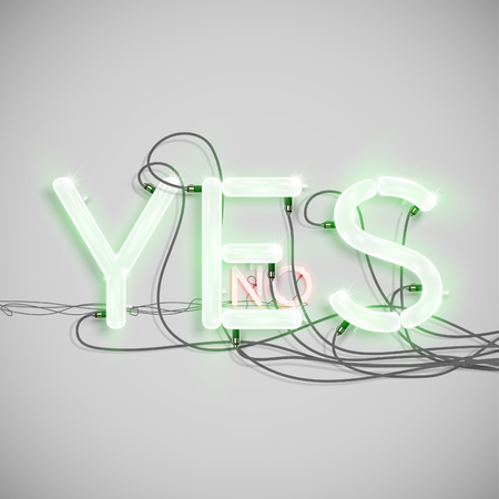 typeset: NO, YES, made by NeON typeset, vector Illustration