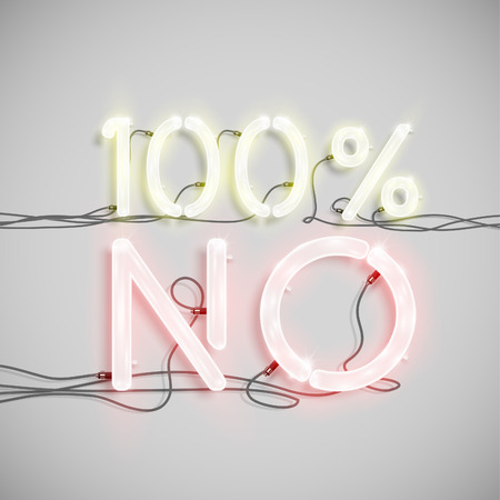 typeset: 100% NO, made by NeON typeset, vector