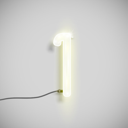 neon font: Number made by neon font, vector