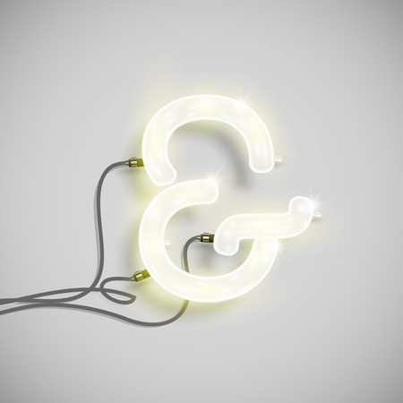 Realistic neon sign with wires (ON), vector Illustration