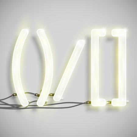 wordrn: Realistic neon signs with wires (ON), vector