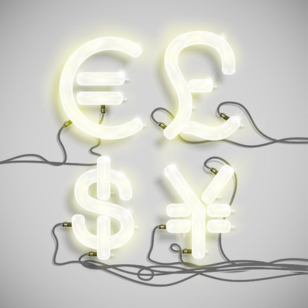 Realistic neon signs with wires (ON), vector