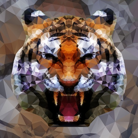 geometric patterns: Low poly design. Tiger illustration.