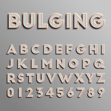 Realistic 3D font, vector Ilustracja