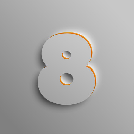 Realistic 3D number, vector