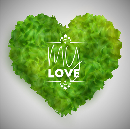 Green leaves heart, vector