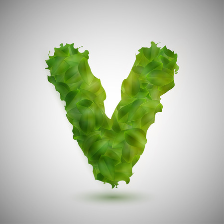 vectorrn: A letter made by leaves, vector