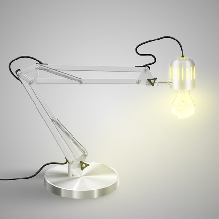Realistic metal table lamp - ON, vector Vector