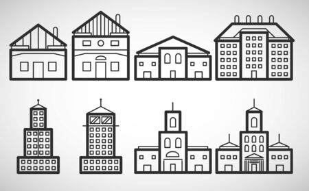 differ: Differ house types icons, vector