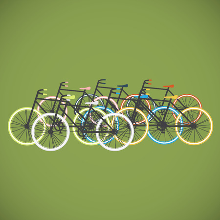 Colorful bicycles flat design, vector Illustration