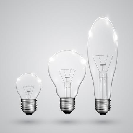 kinds: Three kinds of light bulbs, vector Illustration