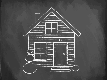 drawing a plan: Realistic house being drawn on the chalkboard, vector