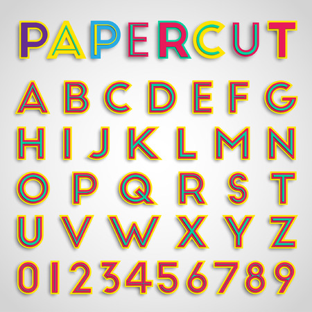 papercut: Papercut font with numbers, vector