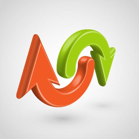 refrescar: 3D rojo y flechas verdes, vector