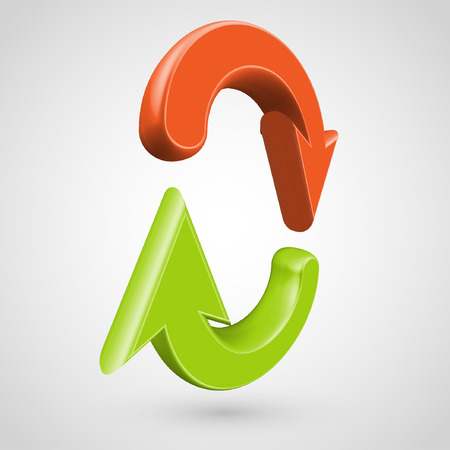 green arrows: 3D red and green arrows, vector Illustration