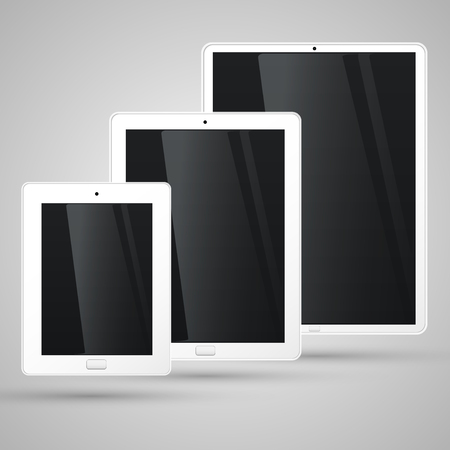 tablet vector: Different sizes of the white tablet, vector