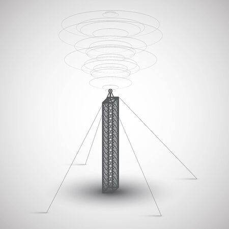 radio tower: Radio tower on gray background, vector Illustration