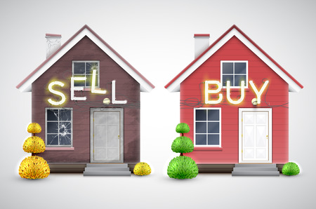 Una vieja casa para vender y comprar uno nuevo, vector
