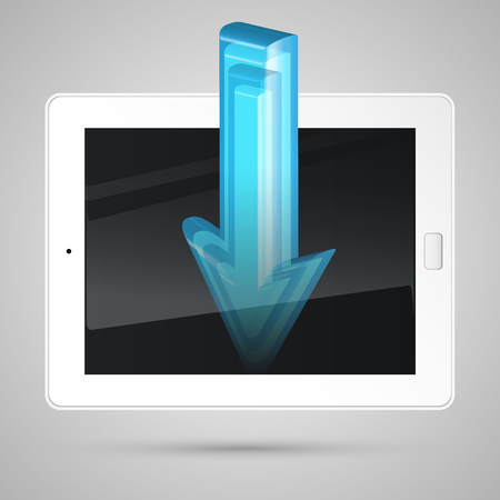 downloading content: Tablet, downloading content, vector Illustration