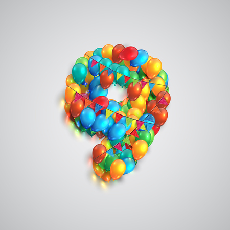 Colorful balloons forming a number, vector Çizim