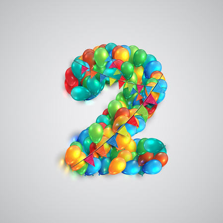 Colorful balloons forming a number, vector Ilustracja