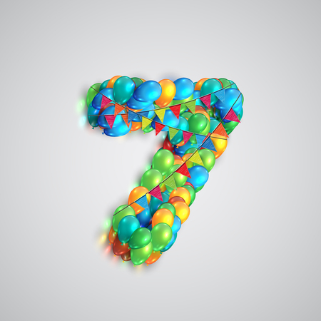 7 8: Colorful balloons forming a number, vector Illustration